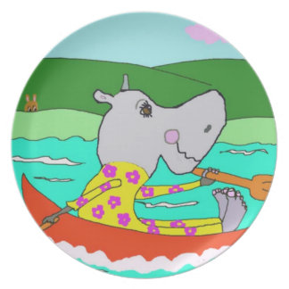 Hillary Hippo And Her Rowboat Dinner Plate