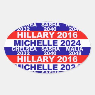 Hillary, Michelle, Chelsea, Sasha, Malia Oval Sticker