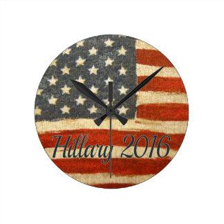 Hillary Mrs President 2016 Round Wall Clocks