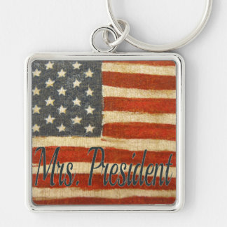 Hillary Mrs President Silver-Colored Square Keychain