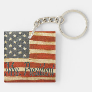 Hillary Mrs President Double-Sided Square Acrylic Keychain