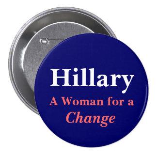Hillary mujer para un cambio pin