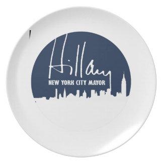 HILLARY PARA EL ALCALDE DE NEW YORK CITY - .PNG PLATOS