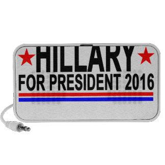 Hillary PARA el PRESIDENTE 2016 camisetas .png Notebook Altavoces