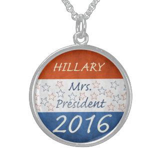 Hillary para el presidente 2016 collares de plata esterlina