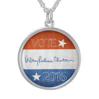 Hillary para el presidente 2016 collar de plata esterlina