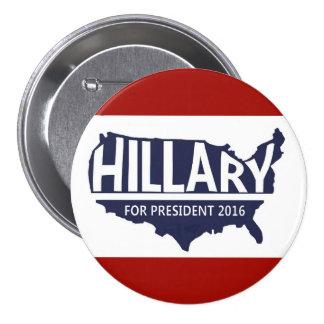 Hillary para el presidente 2016 pin redondo 7 cm