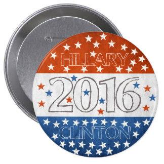 Hillary para el presidente 2016 pin redondo 10 cm