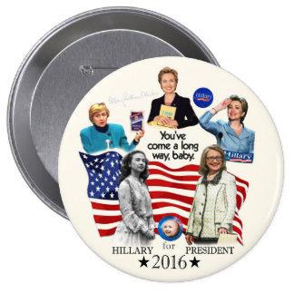 Hillary para el presidente 2016 pin redondo de 4 pulgadas