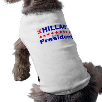 Hillary para el presidente 2016 playera sin mangas para perro