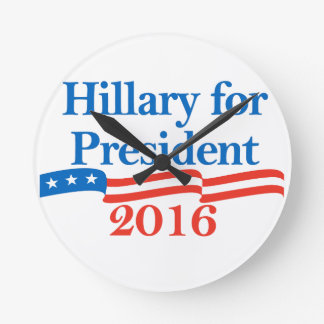 Hillary para el presidente 2016 reloj de pared