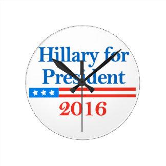 Hillary para el presidente 2016 relojes de pared