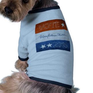 Hillary para el presidente 2016 camiseta con mangas para perro