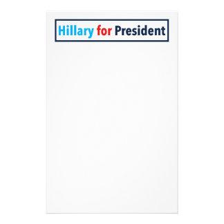 Hillary para el presidente (elija su propio color) papelería de diseño