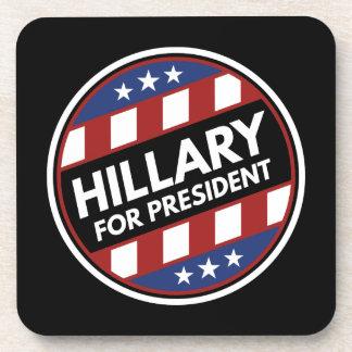 Hillary para el presidente posavasos de bebidas