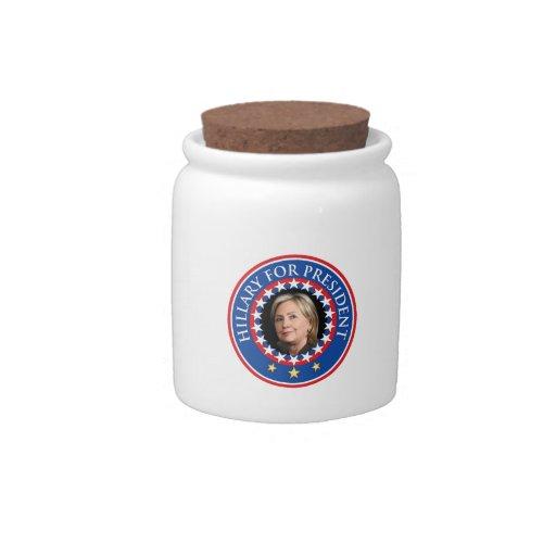 Hillary para el presidente - sello plato para caramelo