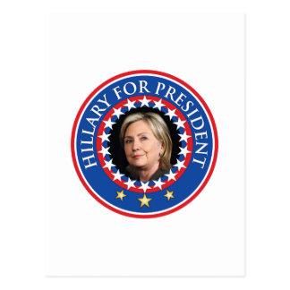 Hillary para el presidente - sello tarjeta postal