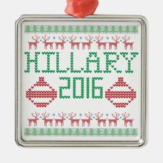 Hillary para el suéter feo del presidente en 2016 adorno navideño cuadrado de metal