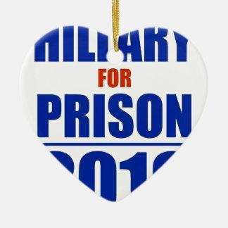 Hillary para la prisión 2016 adorno navideño de cerámica en forma de corazón