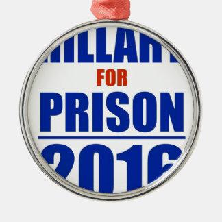 Hillary para la prisión 2016 adorno navideño redondo de metal