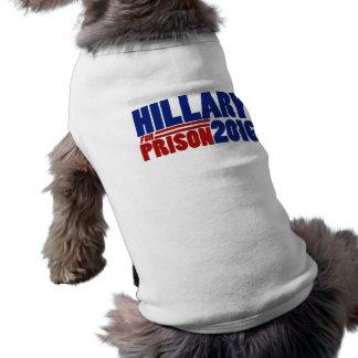 Hillary para la prisión 2016 playera sin mangas para perro