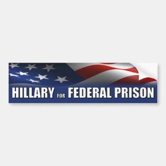 Hillary para la prisión federal pegatina para auto