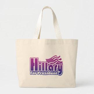 Hillary para presidente Bag Bolsa Tela Grande