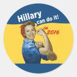 Hillary puede hacerlo 2016 pegatina redonda