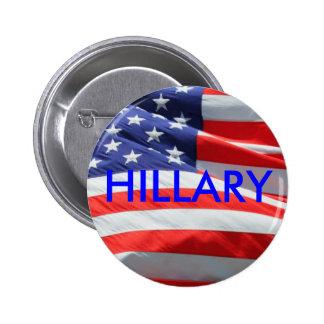Hillary que corre para el botón del presidente pin redondo de 2 pulgadas