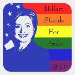Hillary representa orgullo calcomanías cuadradas