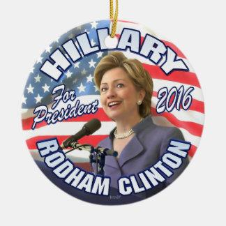 Hillary Rodham Clinton 2016 Adorno Navideño Redondo De Cerámica
