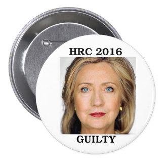 Hillary Rodham Clinton 2016 Pin Redondo De 3 Pulgadas