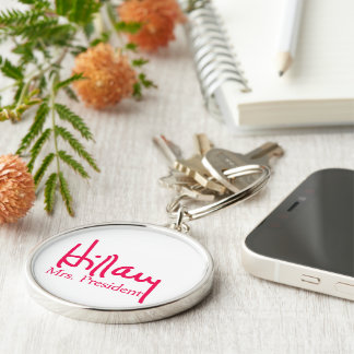 Hillary signature collection Silver-Colored round keychain