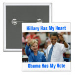 Hillary tiene mi corazón, Obama tiene mi botón del Pins