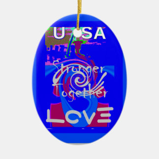 Hillary USA President Stronger Together spirit Ceramic Ornament