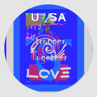 Hillary USA President Stronger Together spirit Classic Round Sticker