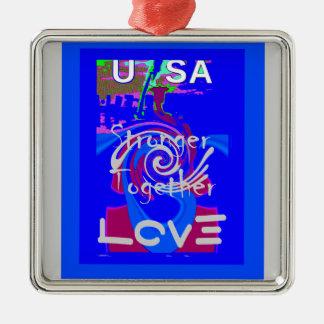 Hillary USA President Stronger Together spirit Metal Ornament