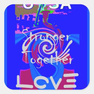 Hillary USA President Stronger Together spirit Square Sticker