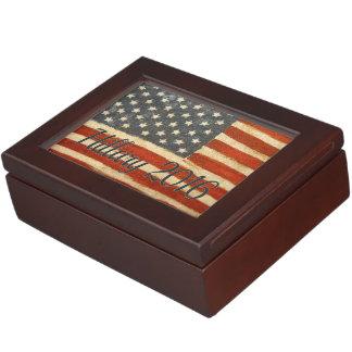 Hillary Vintage Flag.jpg Keepsake Boxes