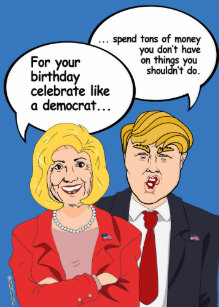 Hillary Vs Trump Birthday Card