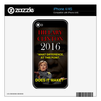 HILLARY WHAT DIFFERENCE iPhone 4 DECALS