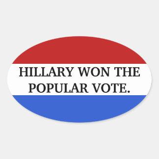 Hillary won the popular vote oval sticker