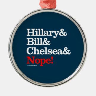Hillary y Bill y Chelsea y Nope Adorno De Navidad