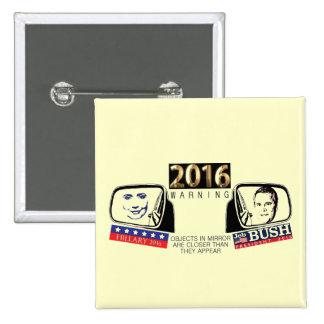 Hillary y Jeb 2016 Pin Cuadrado