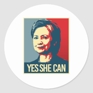 hillary - yes she can - -  classic round sticker