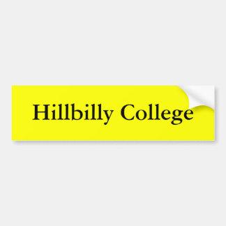 Hillbilly College Bumper Sticker