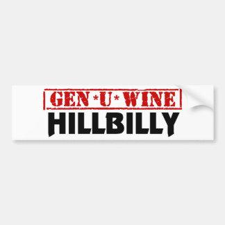 Hillbilly del vino de la GEN U Pegatina De Parachoque