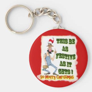 Hillbilly Festive as it gets Basic Round Button Keychain