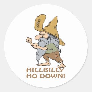 HillBilly Ho abajo Pegatina Redonda