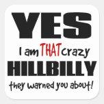Hillbilly loco pegatinas